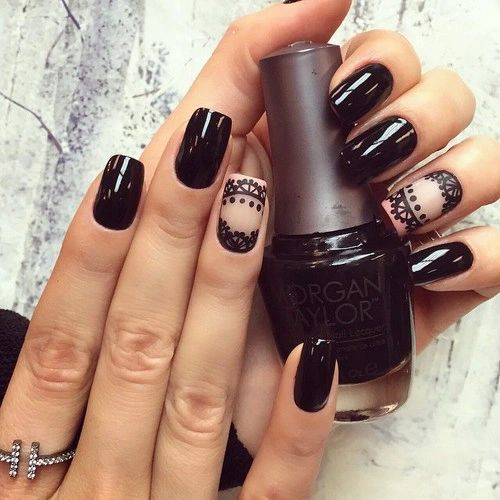 Идеи черного маникюра, Маникюр кружева, Маникюр на длинные ногти, Маникюр на средние ногти, Маникюр под вечернее платье, Маникюр с узором, Модные тенденции маникюра 2016, Обратный френч