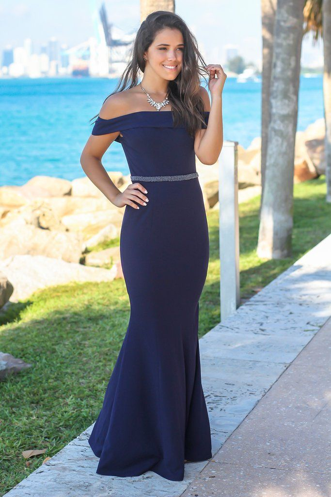 beb613fa53ae4 Navy Off Shoulder Maxi Dress with Waist Detail. Navy Off Shoulder Maxi Dress  with Waist Detail Boutique Dresses ...