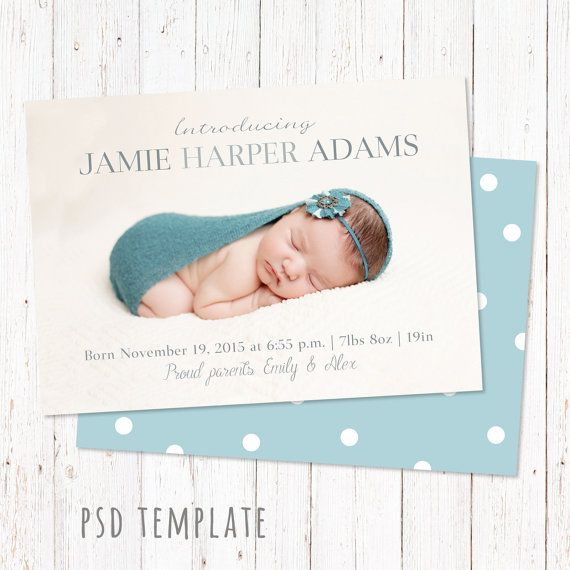 Birth announcement template card. Digital baby girl & baby boy birth card for instant download. Unisex card. Photoshop PSD files. Size 5x7""