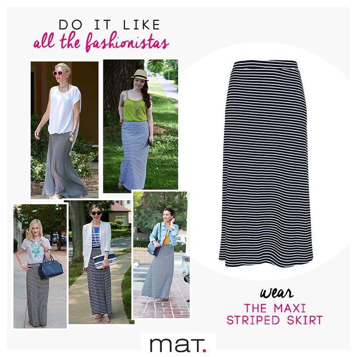 To καλοκαίρι είναι εδώ! Η εποχή που αγαπάμε τις φούστες σε όλες τις εκδοχές τους. Φέτος, όπως και όλες οι fashionistas, επιλέγουμε την maxi ελαστική ριγέ φούστα που με τους κατάλληλους συνδυασμούς μπορεί να φορεθεί από το πρωί έως το βράδυ! Ανακάλυψε την ➲ code: 671.6029  _____________________________________________________ #matfashion #ss17 #ootd #realsize #fashion #style #streetstyle #plussizefashion #psblogger #instafashion #stripes #musthave #trend