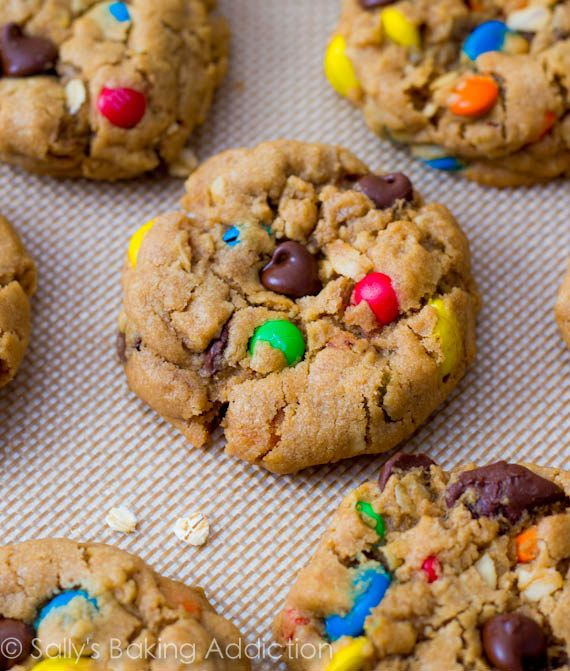 """Soft-Baked Monster Cookies--""""Monster Cookies"""" are peanut butter oatmeal chocolate chip M cookies."""