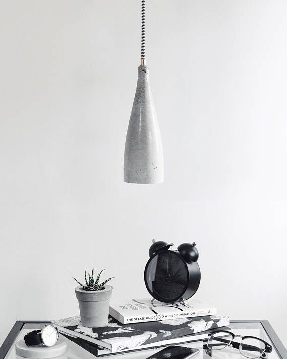 FLUTE Lovingly Named After Its Shape (inspired By Our Drink Of Choice),  These Hanging Concrete Pendant Lights Offer A Unique Industrial Modern Look  For Any ...