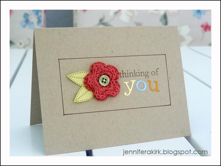 Simple crochet flower on card