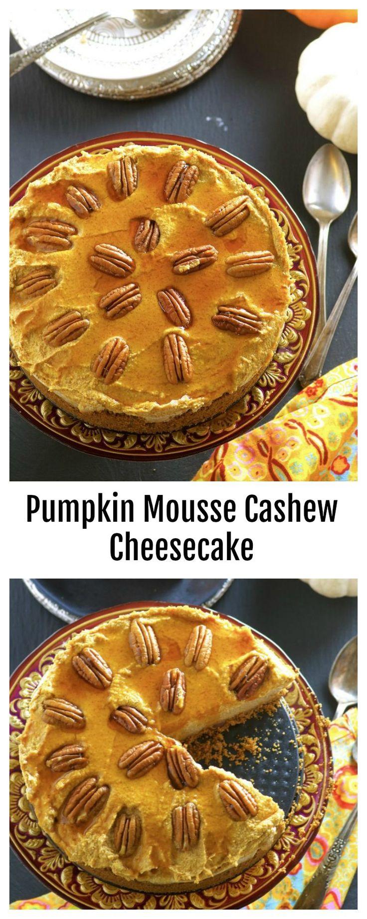 This No-Bake Pumpkin Mousse Cashew Cheesecake has…