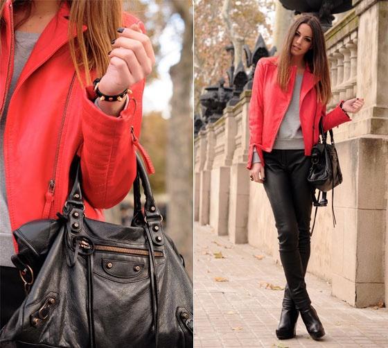 jaqueta de couro, couro vermelho