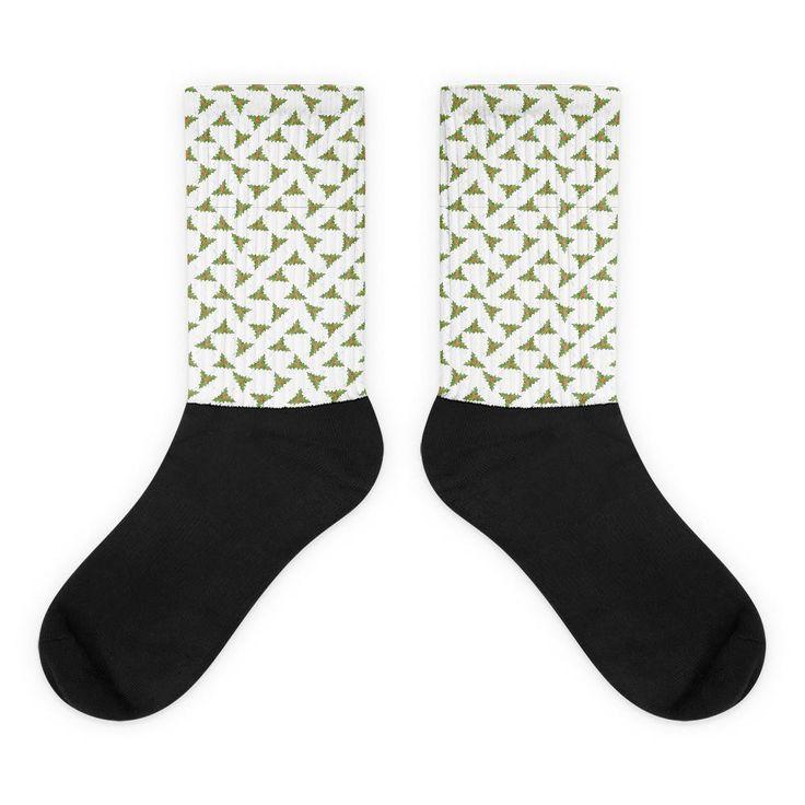 Holly Leaves Pattern Black Foot Socks