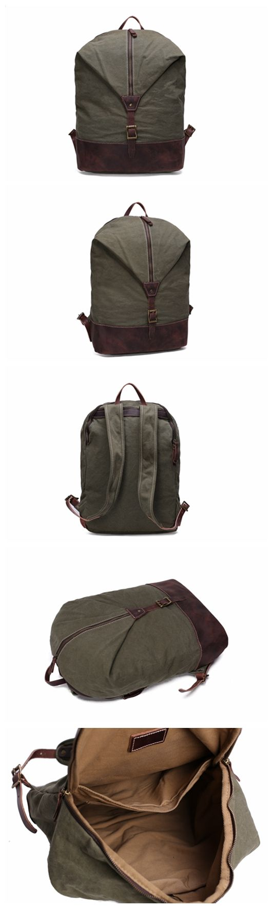 CASUAL CANVAS LEATHER BACKPACK, WAXED CANVAS BACKPACK SCHOOL BACKPACK FOR TEENS TRAVEL BACKPACK