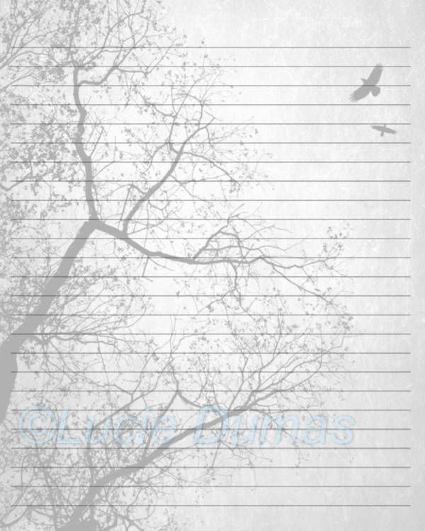 Digital Printable Journal Page Design 24 Tree Bird Stationary 8x10 Download Scrapbooking Paper Template art painting L.Dumas by DigitalsbyLucie on Etsy
