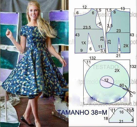 Chart may váy xòe chi tiết đến từng centimet cho bạn 8