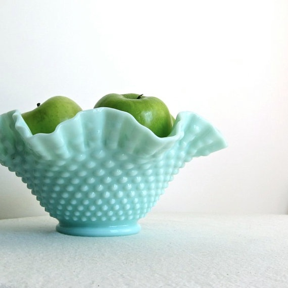 Turquoise Green Pastel Milk Glass Bowl, Fenton Hobnail 1950s. Obsessed with this color!