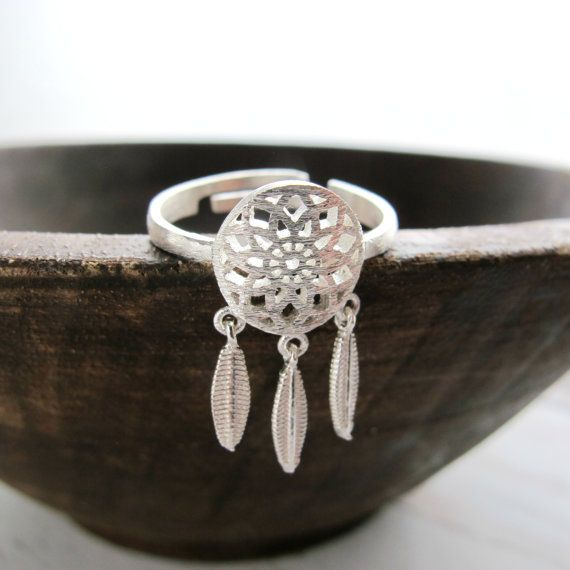 Sterling Silver Dream Catcher Ring-Bohemian Silver Ring-Boho Sterling Silver Ring-Coachella Silver Rings-Coachella Jewelry-Adjustable Size
