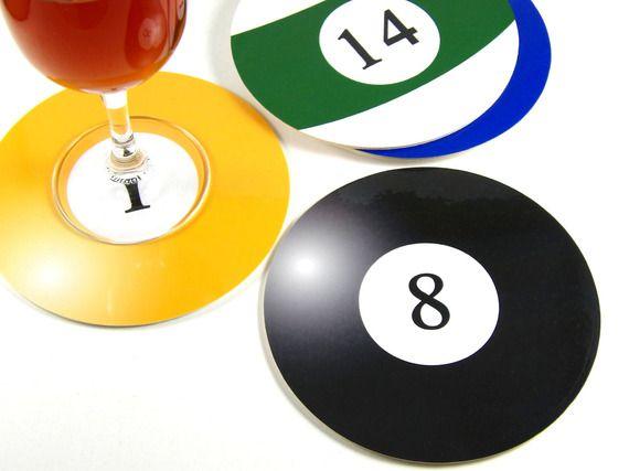 Set 6 Dessous de verre rond Boules de billard Billes de billard Lot de 6 sous-bock rond sous-verres
