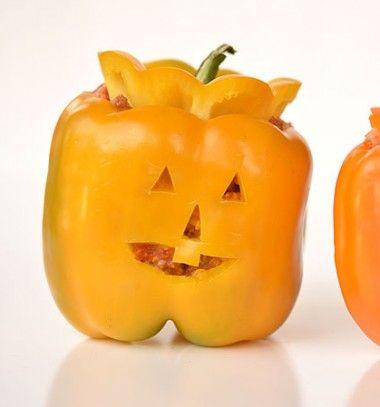 Stuffed pepper jack-o-lanterns // Halloween tök formájú töltött paprikák // Mindy - craft tutorial collection