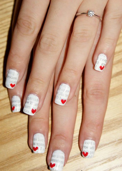 uñas del dia de san valentin #uñasperiodico #arteenuñas #decoracionuñas
