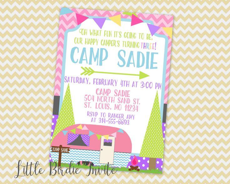 Glamping Birthday Invitation | Happy Camper Invitation | Girls Camping Invitation | Glamping Invite | Happy Camper Birthday | Camp Birthday by LittleBirdieInvite on Etsy https://www.etsy.com/listing/493455124/glamping-birthday-invitation-happy