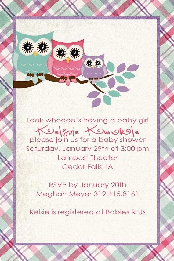 owl baby shower invitations digital printable by katiedidesigns, $13.00