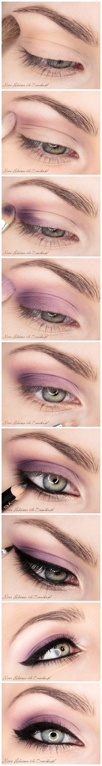 Purple eyeshadow with eyeliner - although I would most definitely tone down the liner! Pretty color, though...