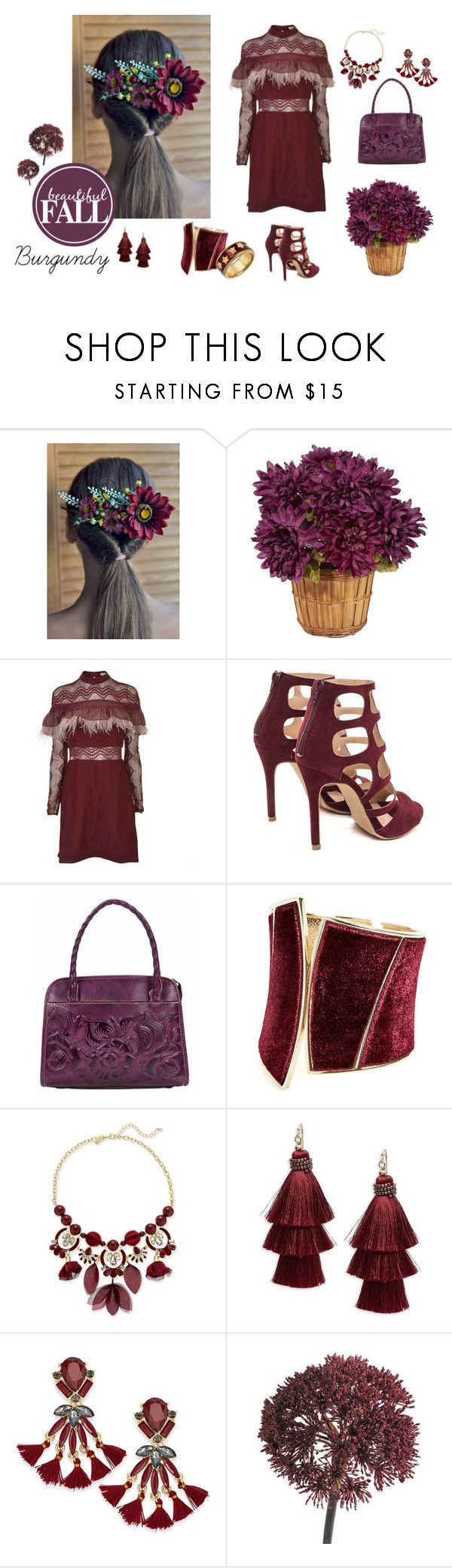 """""""***"""" by vualia ❤ liked on Polyvore featuring Three Floor, Patricia Nash, GUESS by Marciano, INC International Concepts, Design Lab, Abigail Ahern, Wellendorff, fallparty, burgundyautumn and burgundyaccessories"""