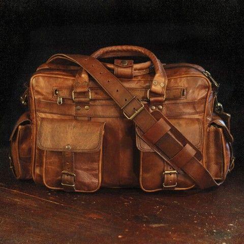 Photo of Everett Vintage Leather Pilot Briefcase Bag – Large