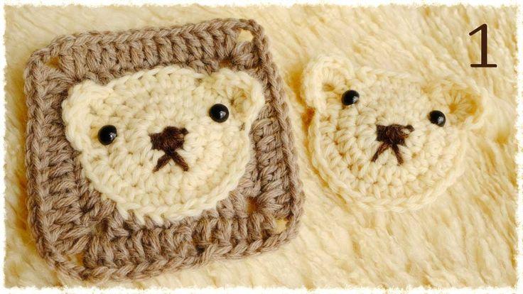 かぎ編み・くまちゃんの四角いモチーフの編み方(1) diy crochet bear