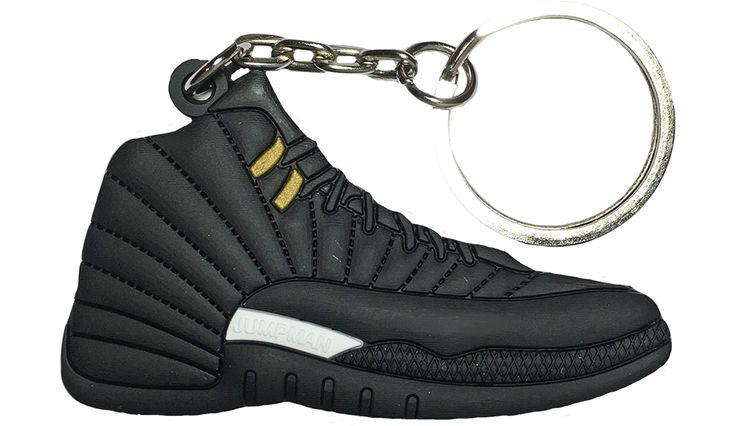 Nike Jordan 12 XII Black Nubuck 2D Flat Keychain