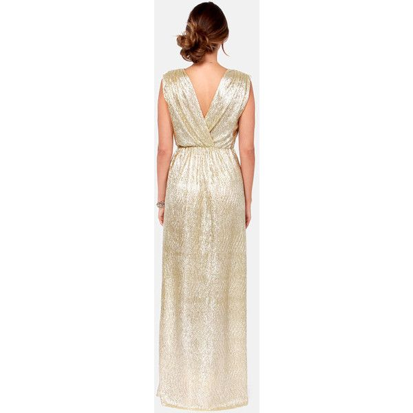 All that Shimmers is Gold Light Gold Maxi Dress ($68) ❤ liked on Polyvore featuring dresses, gowns, gold, maxi gowns, sleeveless dress, pink evening gowns, pink gown and gold evening dresses