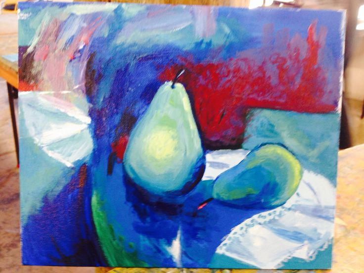 Pears in Still Life - Acrylic painting - painted by me 12/4/14