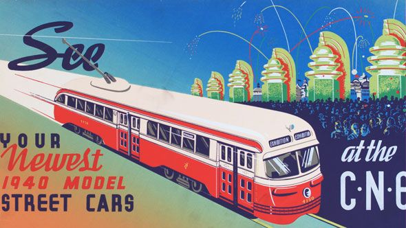 Vintage Toronto Transit Commission advertisement for 1940s streetcars at the Canadian National Exhibition.