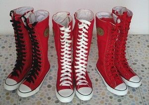 Punk Rock Girl | Women Girl Punk Rock EMO Red White Canvas lace up boots shoes sneaker ...