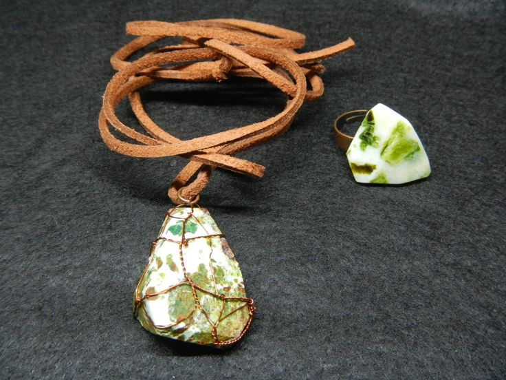 Laterite necklace and ring set by ASweetScaleWorld on Etsy