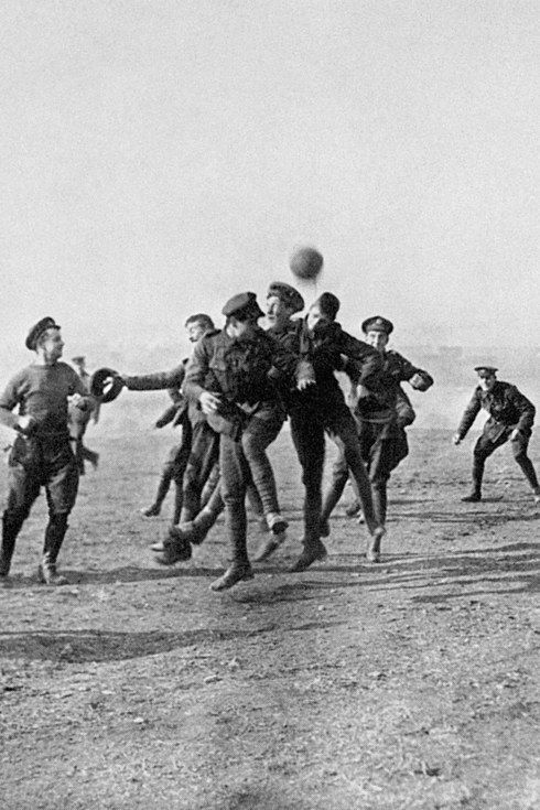 Tensions thawed when both sides came together for a rare temporary truce and enjoyed a football kick-around, 1915.