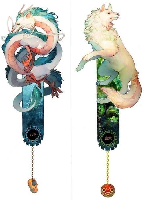 Studio Ghibli; Spirited Away & Princess Mononoke - bookmarks. http://elk64.storenvy.com