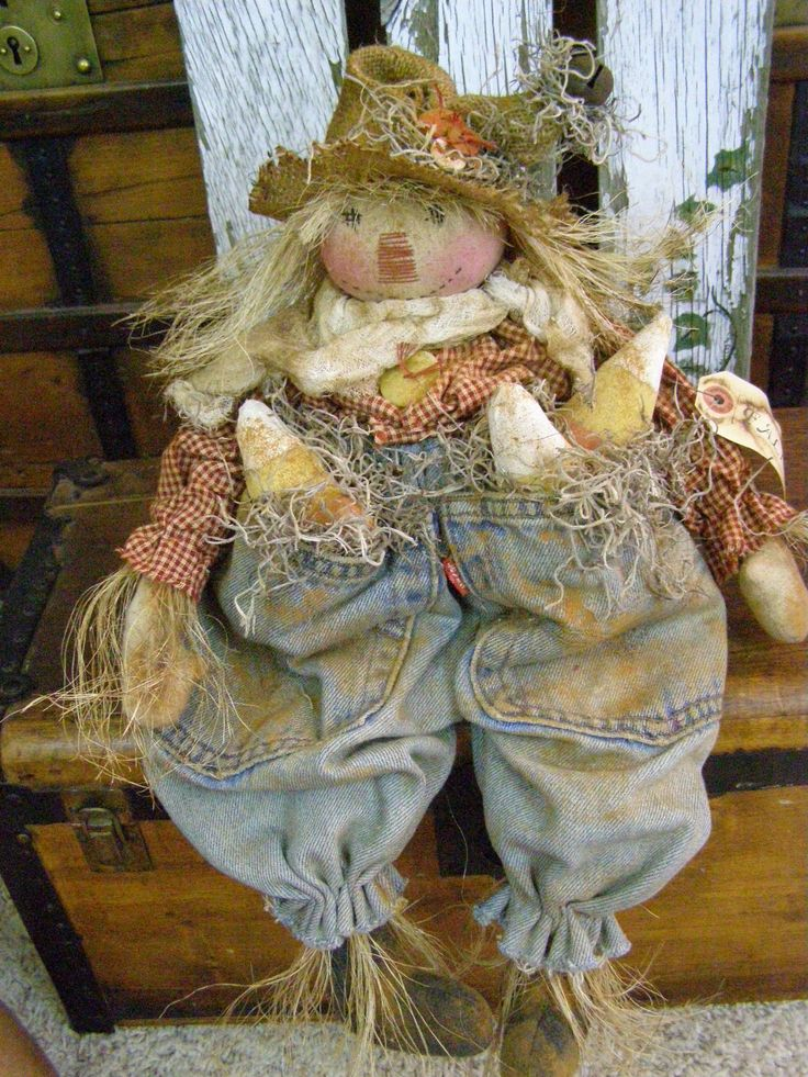 Primitive Fall Scarecrow Doll Fall Candy Corn Folk Art Scarecrow Doll Old Jeans | eBay