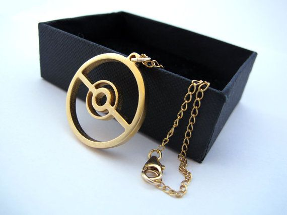 Pokeball Pokemon Necklace GOLD plated brass pendant with 14k gold-filled chain - Great gamer accessory gift