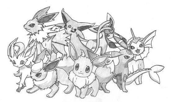 Pokemon coloring pages eevee evolutions google search for Pokemon eevee evolutions coloring pages