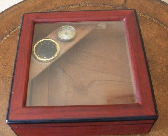 Cherry Wood Cigar Box Humidor with Hygrometer by CaliforniaPicks, $18.00