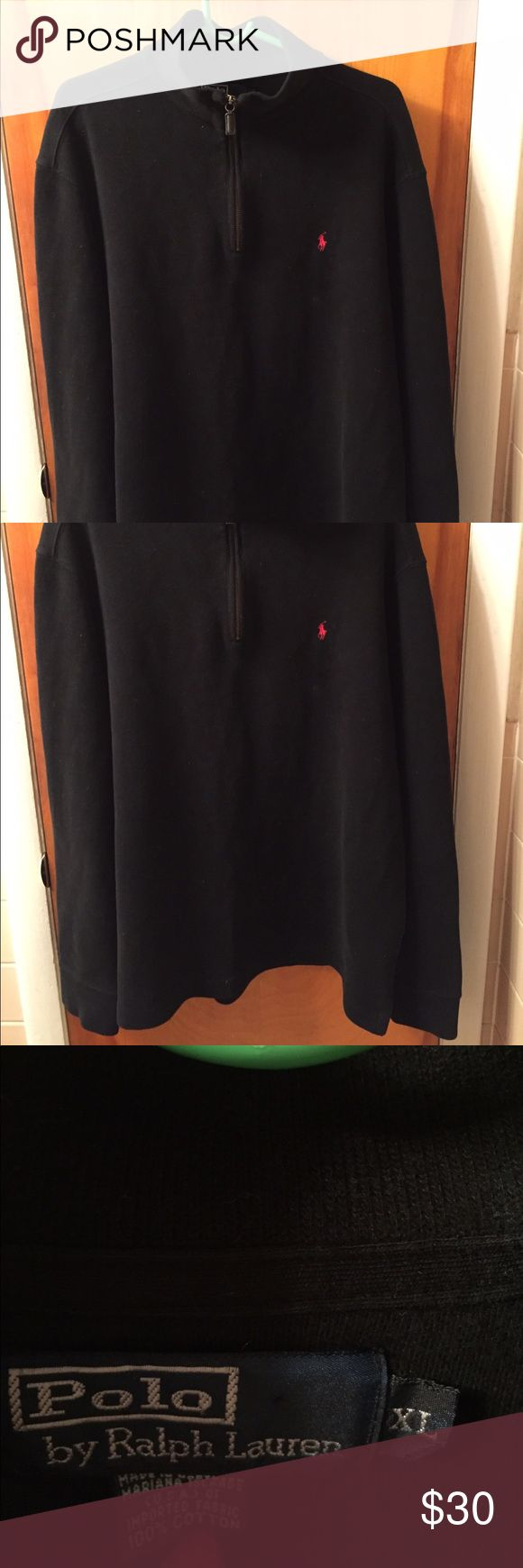 Polo Ralph Lauren black half zip sweater. Sz XL. Black half zip mock neck Ralph Lauren sweater. Men's extra large. Great condition. Only a lint brush to take off bits of material from being stored, but minimal. Polo by Ralph Lauren Sweaters Zip Up