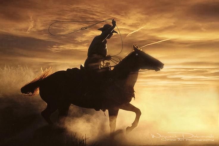 Cowboy Roping And Riding At Sunset Roping Cowboys Rodeo