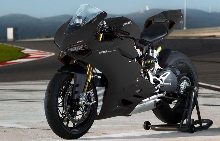 The flat black 2012 Ducati 1199 Panigale S Tricolore. 180bhp, 360 lbs, anti-lock brakes, $28,000.