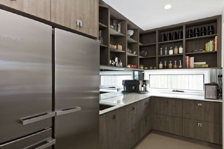 Butlers pantry australia, well lit with brown cupboards reduces the boxed in feeling - Google Search