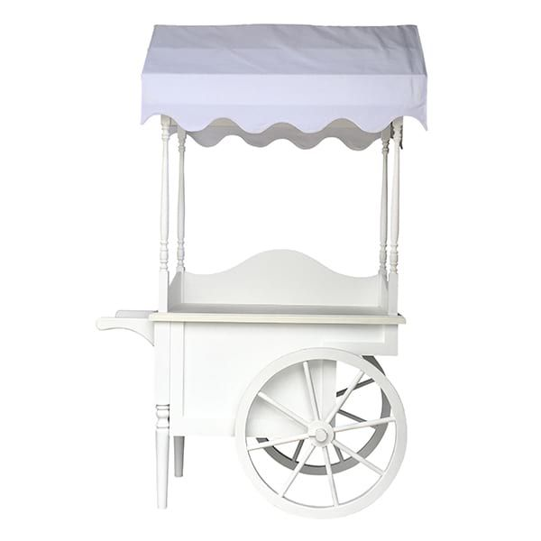 Emmy- White Display Canopy Cart || Bright white rolling display cart with white linen canopy. Custom canopies available for an additional fee. Dimensions: 61 x 26 x 94 3/4