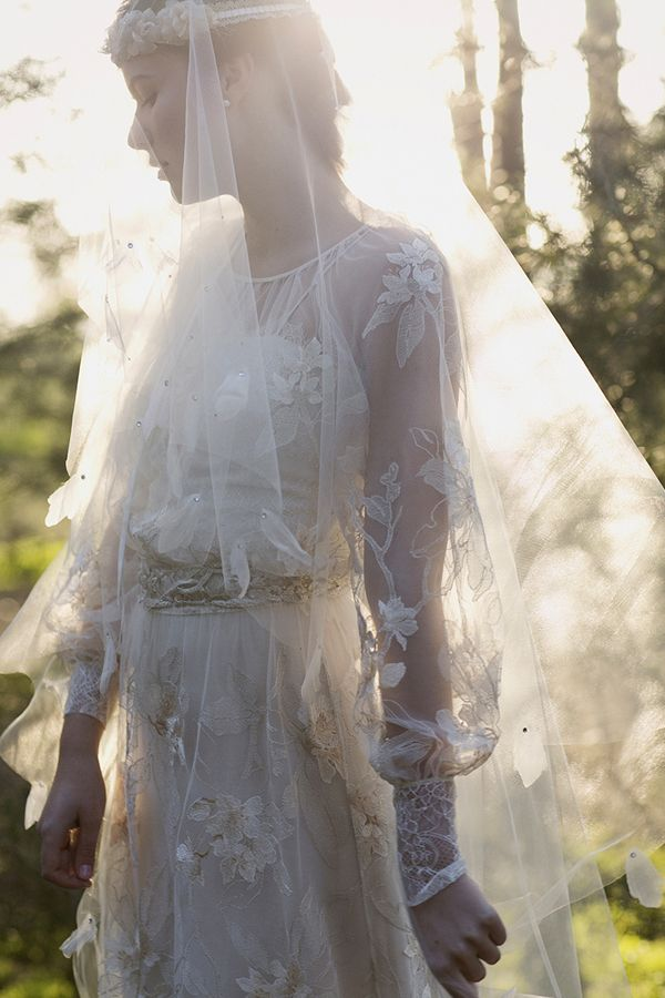 Claire Pettibone 'Peace' wedding gown | See Peace here --> http://www.clairepettibone.com/bridal/?cp=gowns/peace | Styling & Bridal Headpiece: Erica Elizabeth Designs | | Photo: Stephanie Williams via Green Wedding Shoes / Jen Campbell