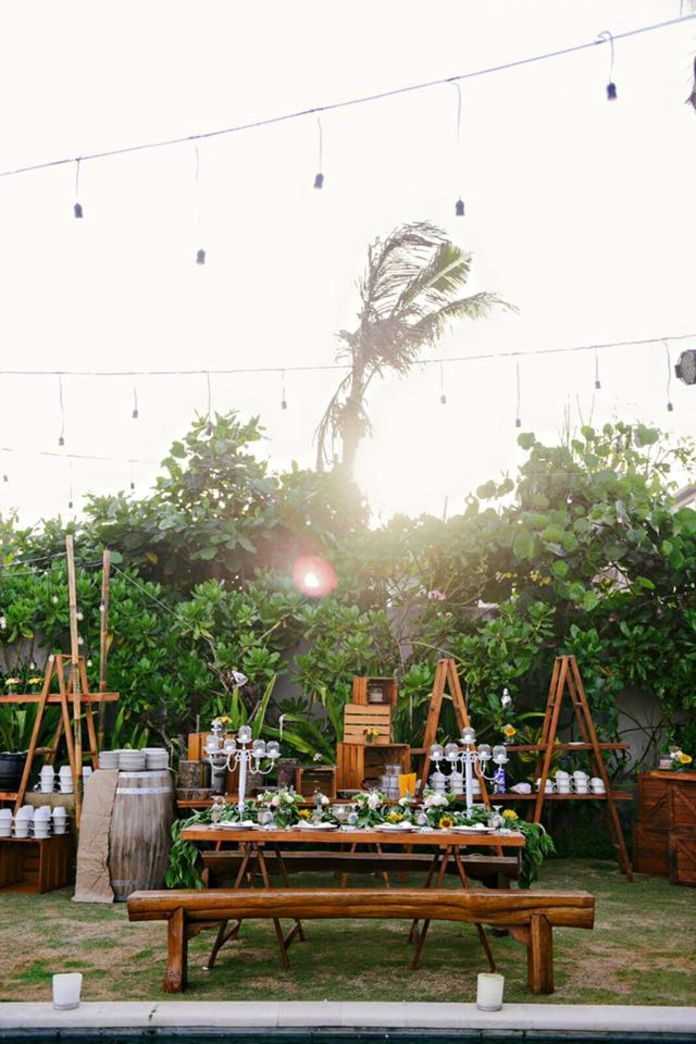 Wedding decor inspiration to make a rustic theme wedding on your backyard | The Engagement Of Adrian & Fika - Romantic Rustic On Summer by Bali Wedding Specialist - bridestory.com