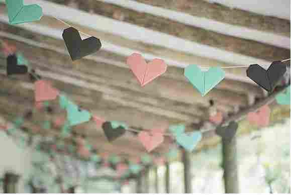 Hartje origami bruiloft