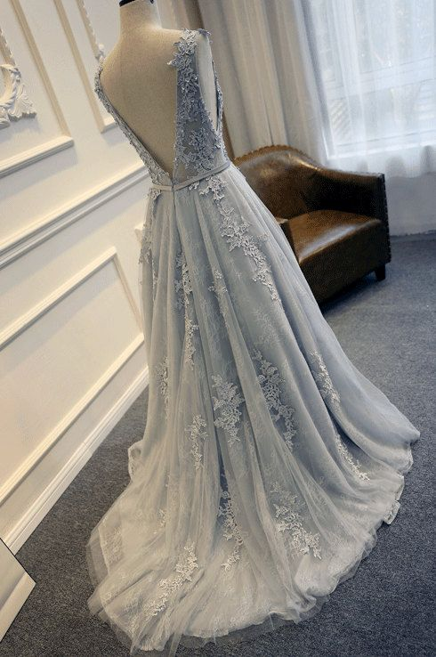 Blue white and grey wedding dress