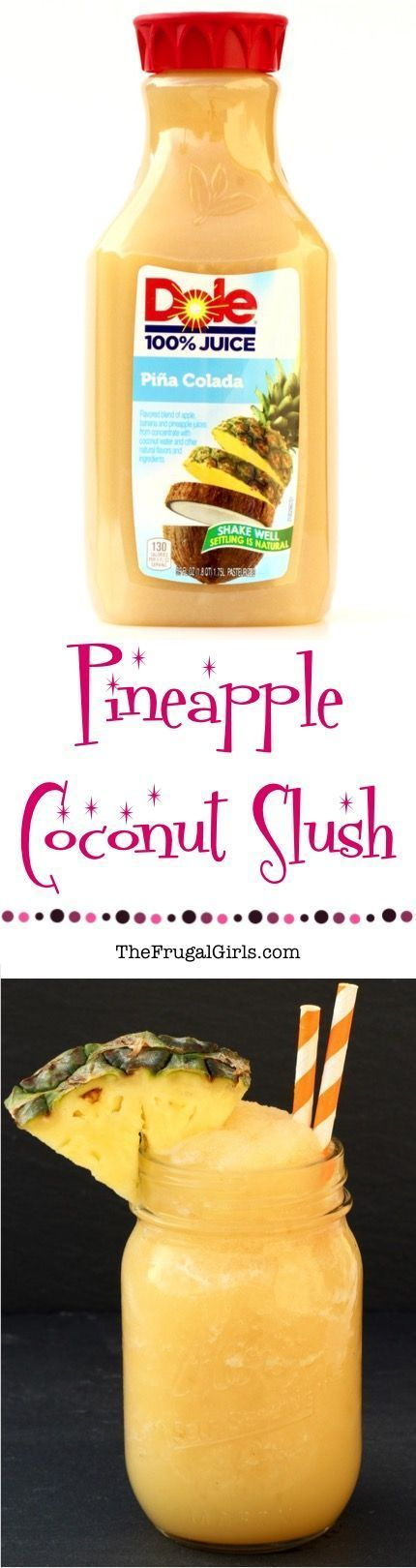 Pineapple Coconut Slush Pina Colada Recipe! ~ from TheFrugalGirls.com ~ this is so EASY to make and crazy delicious... the perfect Summer slushie drink!