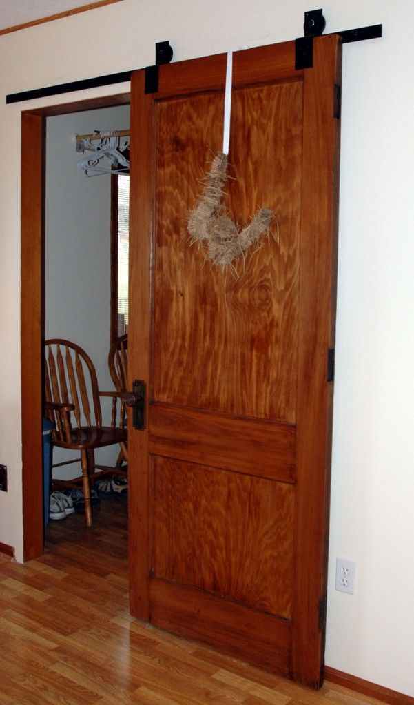 here is a blog on how to make this yourself for $30! (minus the door) We are doing this for our master bath. (btw idk what the hell is hanging on this door but it should go in my creepy category): The Doors, Sliding Barns, Closet Doors, Barn Doors, Diy Barns, Master Bath, Barns Doors Hardware, Door Hardware, Sliding Doors