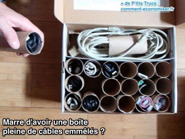 Un rangement pour câbles ingénieux avec tubes de papiers toilettes