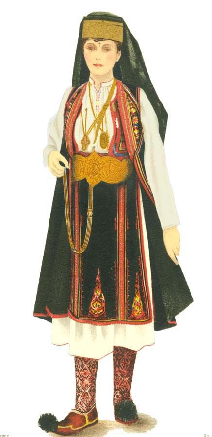 """Aromanian woman. There are 3 main groups of Aromanians: Grãmusteni (mostly in Macedonia) including the """"sãrãcãcianii"""" subgroup Pindeni (in Greece, in the Pind and Olymp Mountains) & Fãrseroti (mostly in Albania)"""
