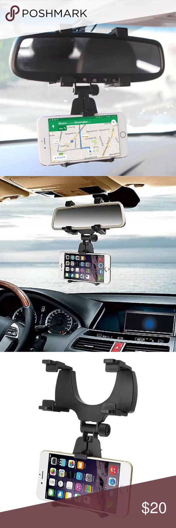 New Smartphone Holder Drive in certainty with our Universal Rearview Mirror Car Smartphone Holder. Easy to install, simply attach the bracket to the rearview mirror. Equipped with sturdy lock knobs which lock to the neck of the mount for sturdiness. The clamp firmly screws onto the rear view mirror giving you exceptional results. The rearview mirror firmly holds devices up to 3.5 inches in width, expands to accommodate large phones such as the iPhone 7 Plus and Galaxy S8 Plus.  Easily fits…
